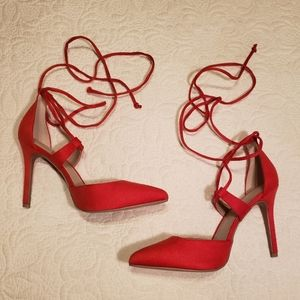 Christian Siriano Red Lace Up Heels